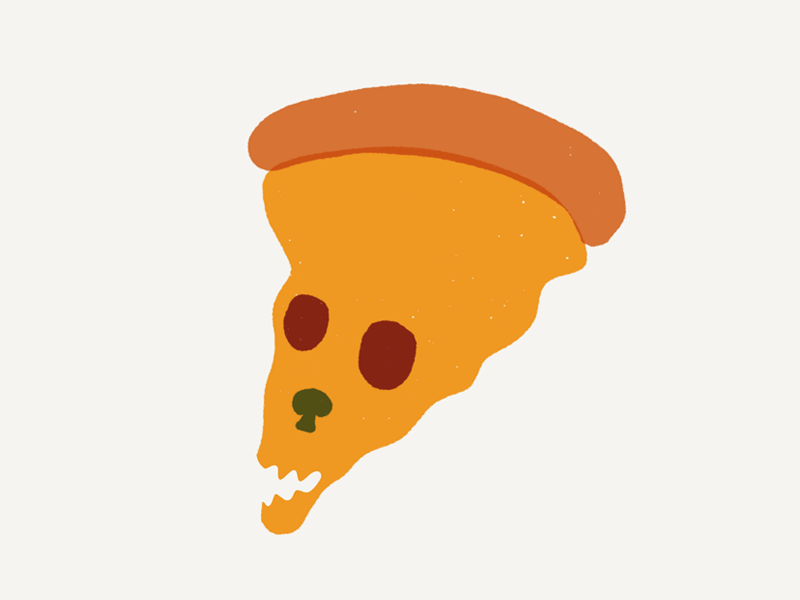 Pizza Skull sketch yellow red mushroom pepperoni illustration pizza skull