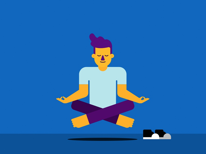 Zen Max (Comalatech) yellow explainer design comalatech character blue atlassian animation agile 2d meditation zen