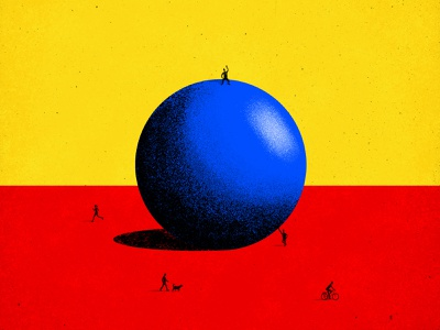 BBB (Big blue ball) photoshop draw drawing draw colorful dog peting biking running people gradient color gradient illustration character red design blue yellow logo branding brand