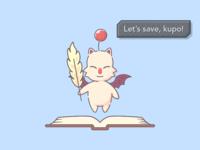 Save Moogle - FFIX hiko fantasy final illustration kupo ffix save moogle