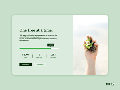 Daily UI 32 - Crowdfunding Campaign ux design crowdfunding campaign crowdfunding dailyui32 daily ui 32 dailyui dailyuichallenge ui design