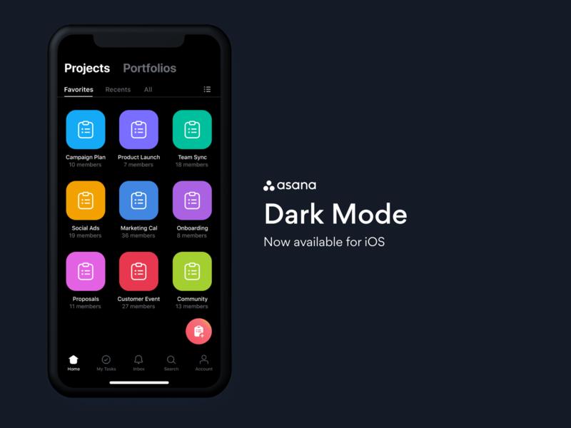 Asana Dark Mode for iOS dark theme ios app ios product design ui who turned out the lights dark knight rises dark ui dark mode