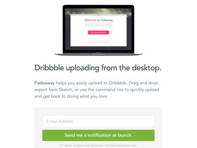 Website notification launch dribbble development api