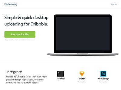 Fadeaway Homepage work-in-progress landing page homepage dribbble development buy api