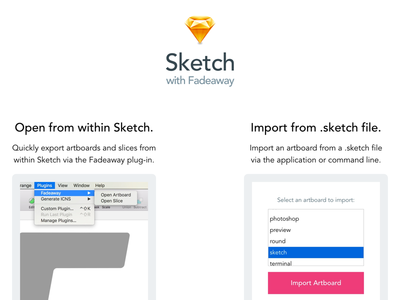 Sketch Landing Page sketch plug-in landing fadeaway application api