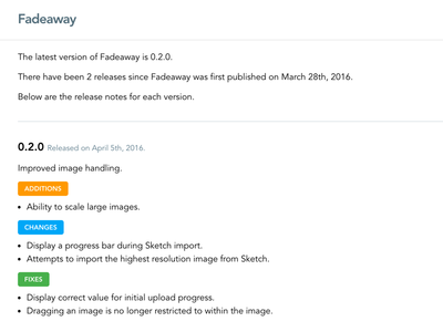 Releases version release notes fadeaway dribbble application api