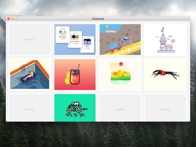 Full Desktop Client work-in-progress fadeaway dribbble development application api