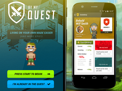 By My Quest - Living on your own made easier. user interface app mobile android 8 bits flat design adventure finances cooking journey