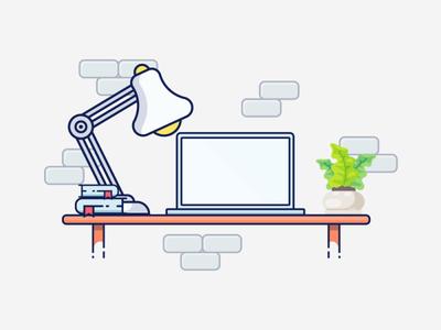 illustration of Working table vector design illustration