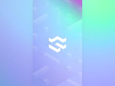 blonkchain? poster logo rc blockchain isometric 3d gradients
