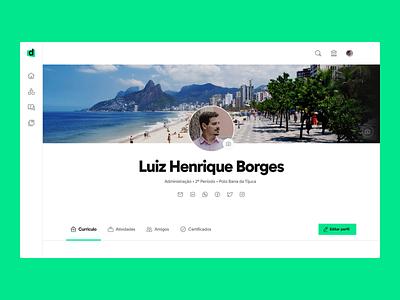 LMS Faculdade Descomplica - User Profile brazil college prototype product design curriculum user profile profile ux ui learning platform education design descomplica