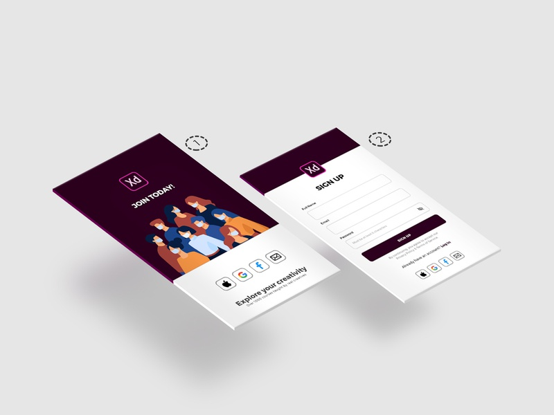 CreateWithAdobeXD isometric join us webdesign app design ux uxui ui illustration adobe xd