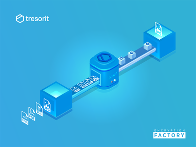 Encryption Factory : Tresorit Playoff tresorit illustrator data encrypation factory playoff design isometric illustraion