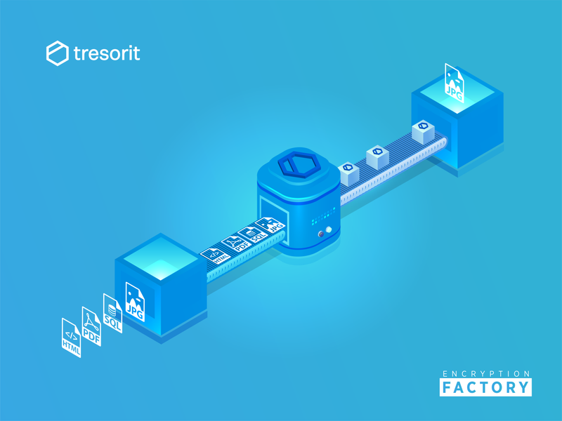 Encryption Factory : Tresorit Playoff freshcolor 3d ai trending tresorit illustrator data encrypation factory playoff design isometric illustraion