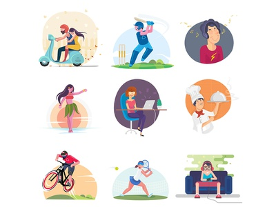 Vector Stock Pack 01 food laptop music scooter bike ride hawaiian tennis gaming cricket cook clipart collection digital art drawing vector design character illustration
