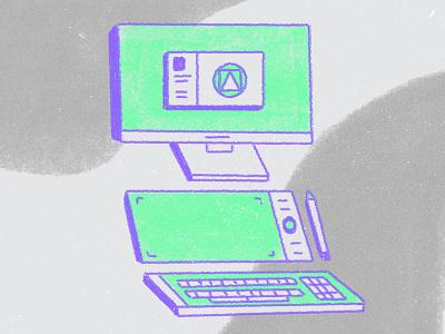 Daily Tools keyboard pen wacom computer photoshop texture 2d illustration