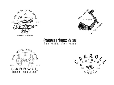 Carroll Brothers vintage typography logo lettering illustration hand drawn greenhouse carroll brothers branding