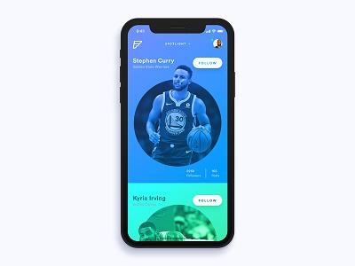 Fanatik minimal design ux ui mobile app fan basketball ios iphone x