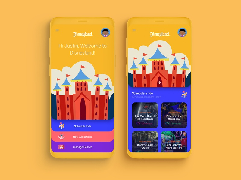 Disneyland Theme Park flat vector mobile android typography illustration web design minimal ux app ios greenhouse ui