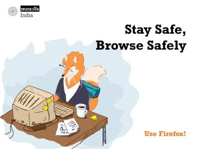 Stay Safe, Browse Safely! illustration hand drawn mozillaindia