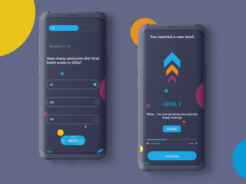 Quiz trivia app UI concept app branding design ui quiz app