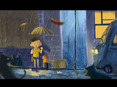 The Rain illustrator chapchonralph storyteller storytelling digitalpainting conceptart illustartion