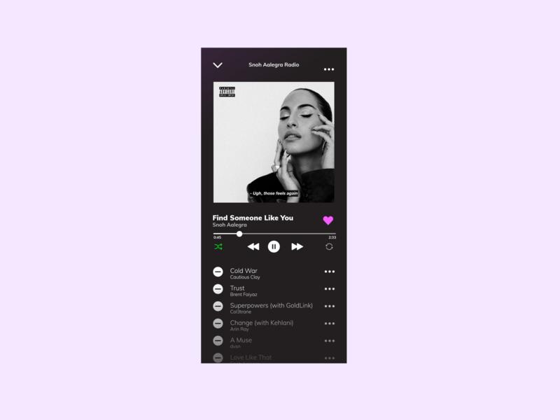 DAILY UI 009 music player ui music player 009 minimal design app ux ui design ui dailyui