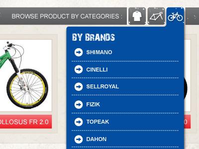 Category Tabs - Bike Site category tabs blue bike icon