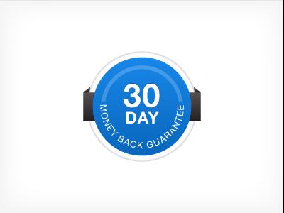 30 Days Money Back Guarantee blue 30days circle emblem