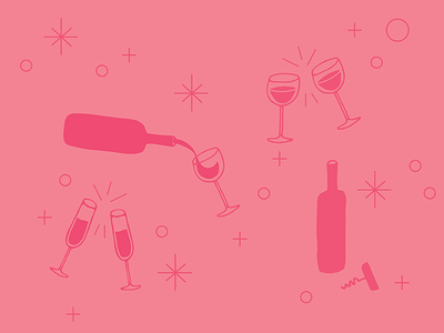 Weekend in pink wine glasses bubbles clink champagne cheers pink weekend wine