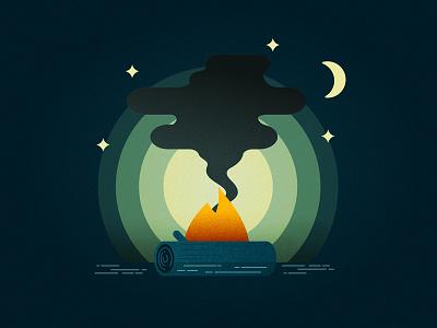 Moonlit Campfire  mediocre at best moonlit campfire illustrator vector illustration