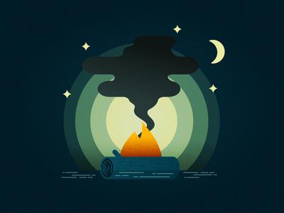 Moonlit Campfire