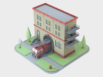 Firehouse mediocre design building firehouse firetruck isometric 3d c4d cinema 4d