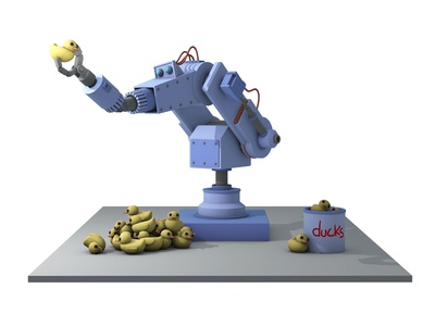 Duck Inspector robo arm rubber duck rubber ducky low poly isometric 3d robot c4d cinema 4d