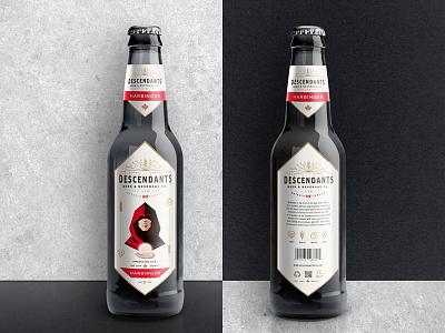 Descendants Beer Label geometric vintage red white black canada harbinger design label beer descendants