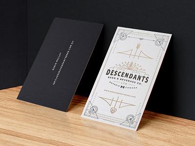 Descendants Beer Business Cards card business canada vintage retro wheat tree family logo beer descendants