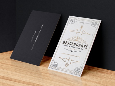 Descendants Beer Business Cards card business canada vintage retro wheat tree family logo beer descendants