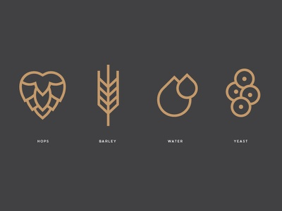 Descendants Icons label single wheat line logo icon yeast water barley hops beer descendants