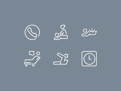 Kinetic Osteo Health Icons symbols medical treatment rounded art line logo icons osteopath health osteo kinetic