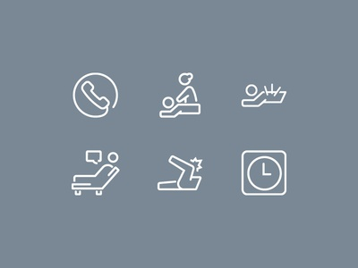 Kinetic Osteo Health Icons symbols medical treatment rounded art line logo icons osteopath health osteo kinetic