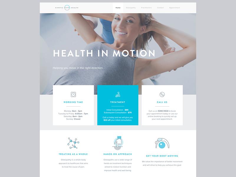 Kinetic Osteo Health website motion grey blue responsive ux ui website osteopath health osteo kinetic