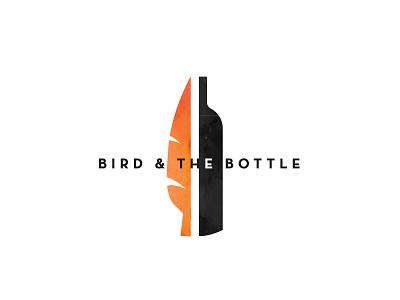 Bird and the Bottle Logo 1 split balance half typography icon feather orange black logo bottle bird