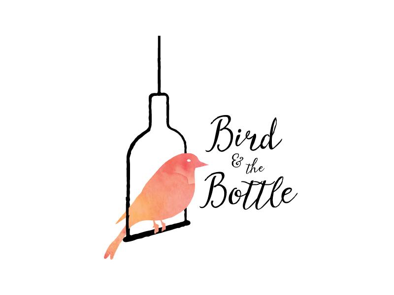 Bird and the Bottle Logo 2 cursive feminine swing cage typography icon feather orange black logo bottle bird