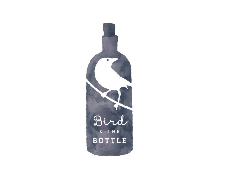 Bird and the Bottle Logo 3 cursive space negative flask watercolour grey logo bottle bird