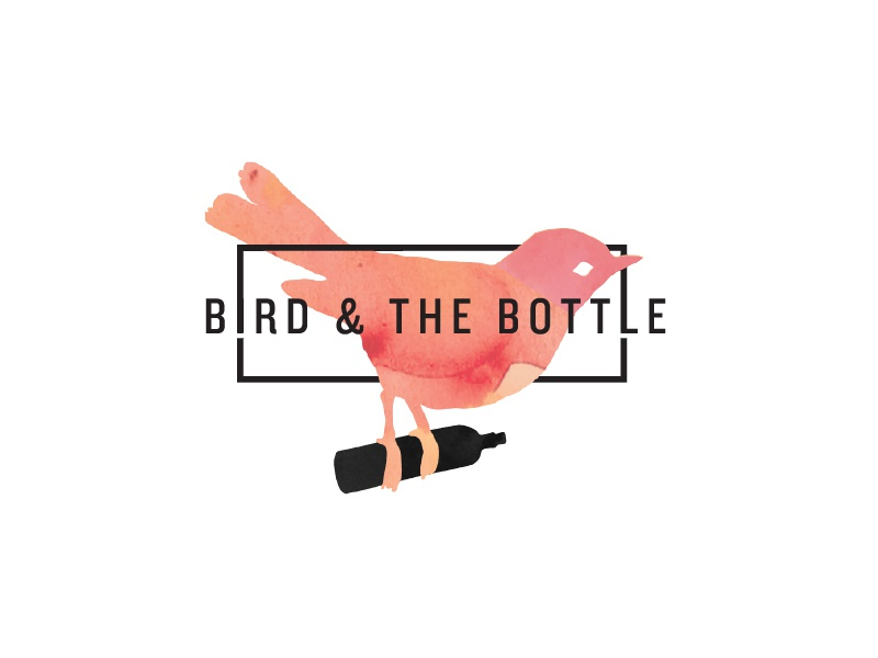 Bird and the Bottle Logo 4 around wrap black border typography watercolour orange pink logo bottle bird