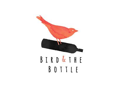 Bird and the Bottle Logo 5 typography drawn hand watercolour orange logo bottle bird