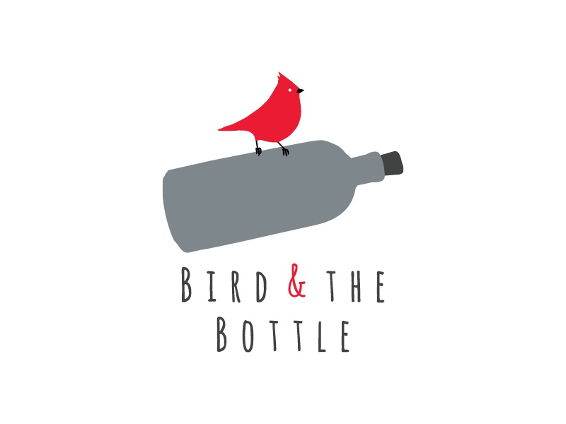 Bird Bottle Logo Design flask sparrow typography drawn hand flat grey red logo bottle bird