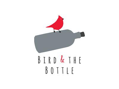Bird Bottle Logo Design flask sparrow typography drawn hand flat grey red logo bottle bird