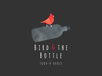 Bird and the Bottle Logo black flask sparrow typography drawn hand flat grey red logo bottle bird