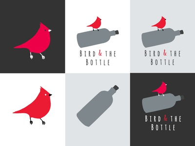Bird and the Bottle Logo Elements icons elements typography drawn hand flat grey red logo bottle bird